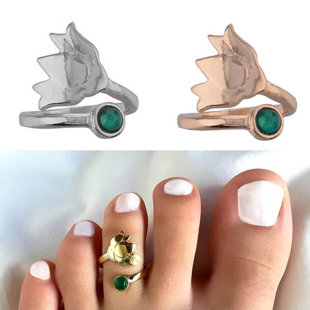 [メンズ レディース 足の指 指輪 ファランジリング] チューリップストーン トゥリング 足の指輪 トーリング 足のリング ピンキーリング フリーサイズ シルバー ゴールド 金色 銀色 小指 関節 指先 夏 プレゼント 天然石風 ストーン 花 エメラルドグリーン 緑色 丸い