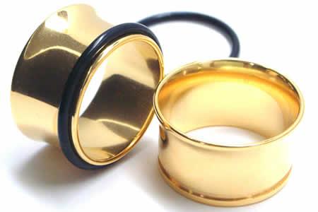 22mm 金色 ホールピアスゴールド シングルフレア ボディピアス 22 0mm サージカルステンレス316L 金属アレルギー メンズ レディース 拡張 ホールトゥピアス ゴムキャッチ ラバーキャッチ 片側 広い 大きい ビッグ ラージ ホール 耳 高級 イエローゴールド インチO0wNyv8nPm