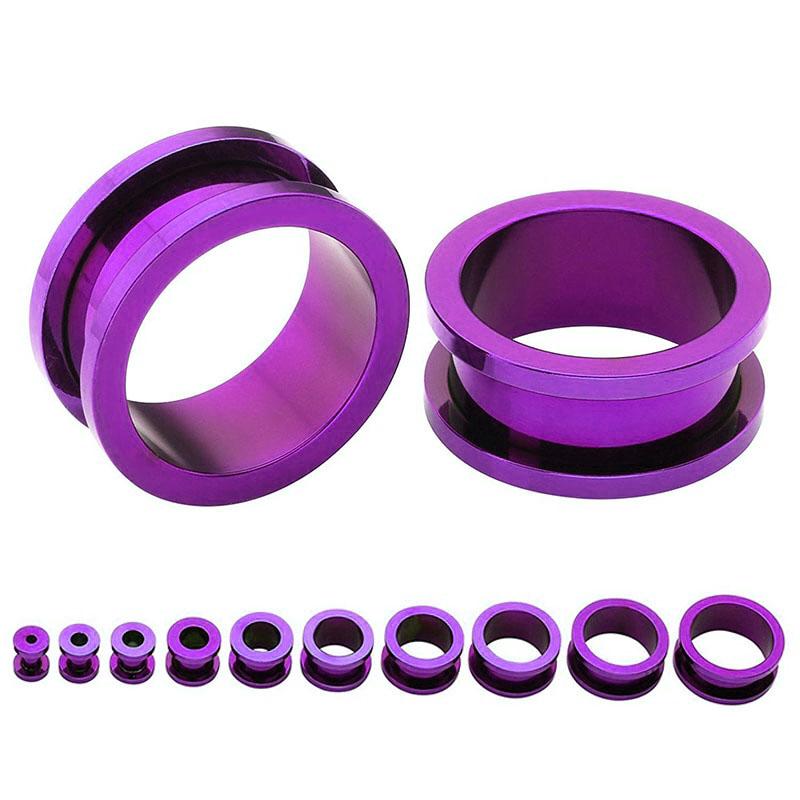 [ 0G 紫色 チタングレード23 ] パープルチタントンネル 0ゲージ 0ga ボディピアス チタニウム ホール系 金アレ メンズ レディース ネジタイプ スクリュー 土管型 プラグ プレーン ホールトゥピアス ニッケルフリー 耳 インチ ボディーピアス チタン合金 チタン 拡張 G23