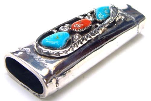 ネストオブスネークライターケース 天然石 ターコイズ トルコ石 サンゴ インディアンジュエリー 高級 プレゼント 薄いライターが入ります