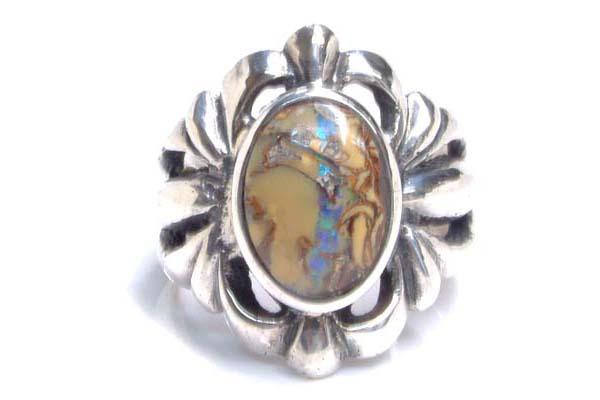 ゴッドオブサンリング(オパール) 23号 天然石 アンティークシルバー シルバー925 スターリングシルバー インディアンジュエリー 手作り 世界に1つだけ 指輪 シルバーリング