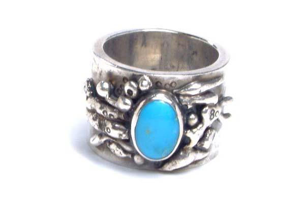 ゴッドレスオブムーンリング(ターコイズ) 17号 トルコ石 天然石 アンティークシルバー シルバー925 スターリングシルバー インディアンジュエリー 手作り 世界に1つだけ 指輪 シルバーリング