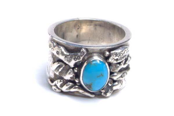ゴッドオブマザーリング(ターコイズ) 26号 トルコ石 天然石 アンティークシルバー シルバー925 スターリングシルバー インディアンジュエリー 手作り 世界に1つだけ 指輪 シルバーリング