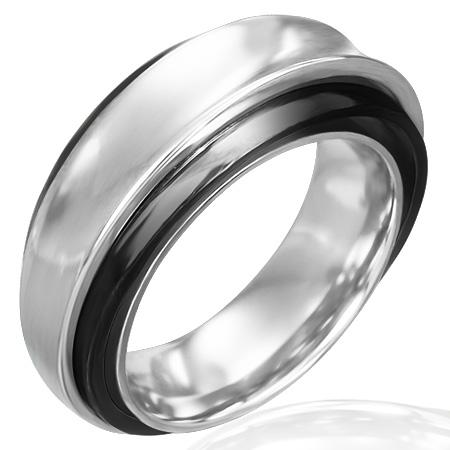 トリップルステンレスリング(ブラック)(LRC208)サイズ/24号 黒色 個性的な形状 ステンレスリング 指輪 サージカルステンレス316L 低アレルギー メンズ レディース ペアリング プレゼント ギフト 結婚 婚約 記念日 誕生日 ピンキーリング