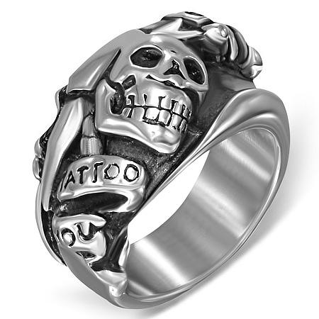 ソードスカルステンレスリング(RMT220)サイズ/26号 ドクロ ガイコツ 指輪 サージカルステンレス316L 低アレルギー メンズ レディース ペアリング プレゼント ギフト 結婚 婚約 記念日 誕生日 ピンキーリング ファランジリング