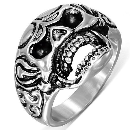 ヘイトスカルステンレスリング(RMT232)サイズ/18号 ガイコツ ドクロ 指輪 サージカルステンレス316L メンズ レディース ペアリング プレゼント ギフト 結婚 婚約 記念日 誕生日 ピンキーリング ファランジリング