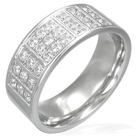 グリッドパベステンレスリング(ZRC058)サイズ/22号 パヴェ キラキラ クリスタル ジルコニア 指輪 サージカルステンレス316L メンズ レディース ペアリング プレゼント ギフト 結婚 婚約 記念日 誕生日 ピンキーリング ファランジリング