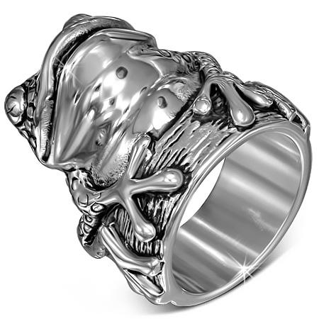 ビッグフロッグステンレスリング(RMT391)サイズ/25号/27号 大きなカエルの指輪 蛙 立体 3D オモシロ 個性 サージカルステンレス316L メンズ レディース ペアリング プレゼント ギフト 結婚 婚約 記念日 誕生日 ピンキーリング おもしろい 面白い 男の人 女の人