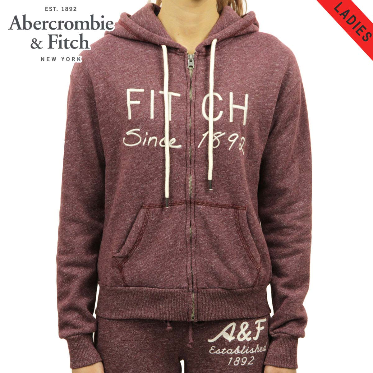 アバクロ Abercrombie&Fitch 正規品 レディース ジップアップパーカー EMBROIDERED LOGO GRAPHIC HOODIE 152-528-649-523 D00S20