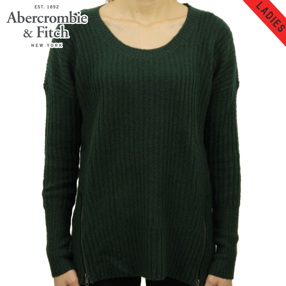 d6d6a6b56 ABBA black sweater lady's regular article Abercrombie & Fitch RIBBED ZIP  SWEATER 150-490-0662-300 D00S20