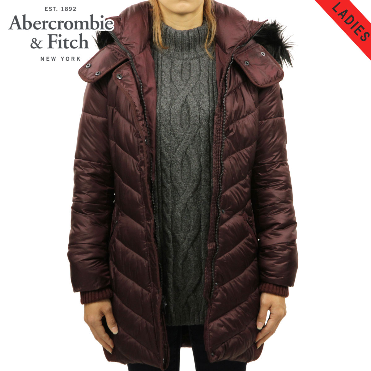 e75f3e6057c ABBA black Abercrombie & Fitch regular article Lady's outer QUILTED  NYLON PARKA 144-442 ...