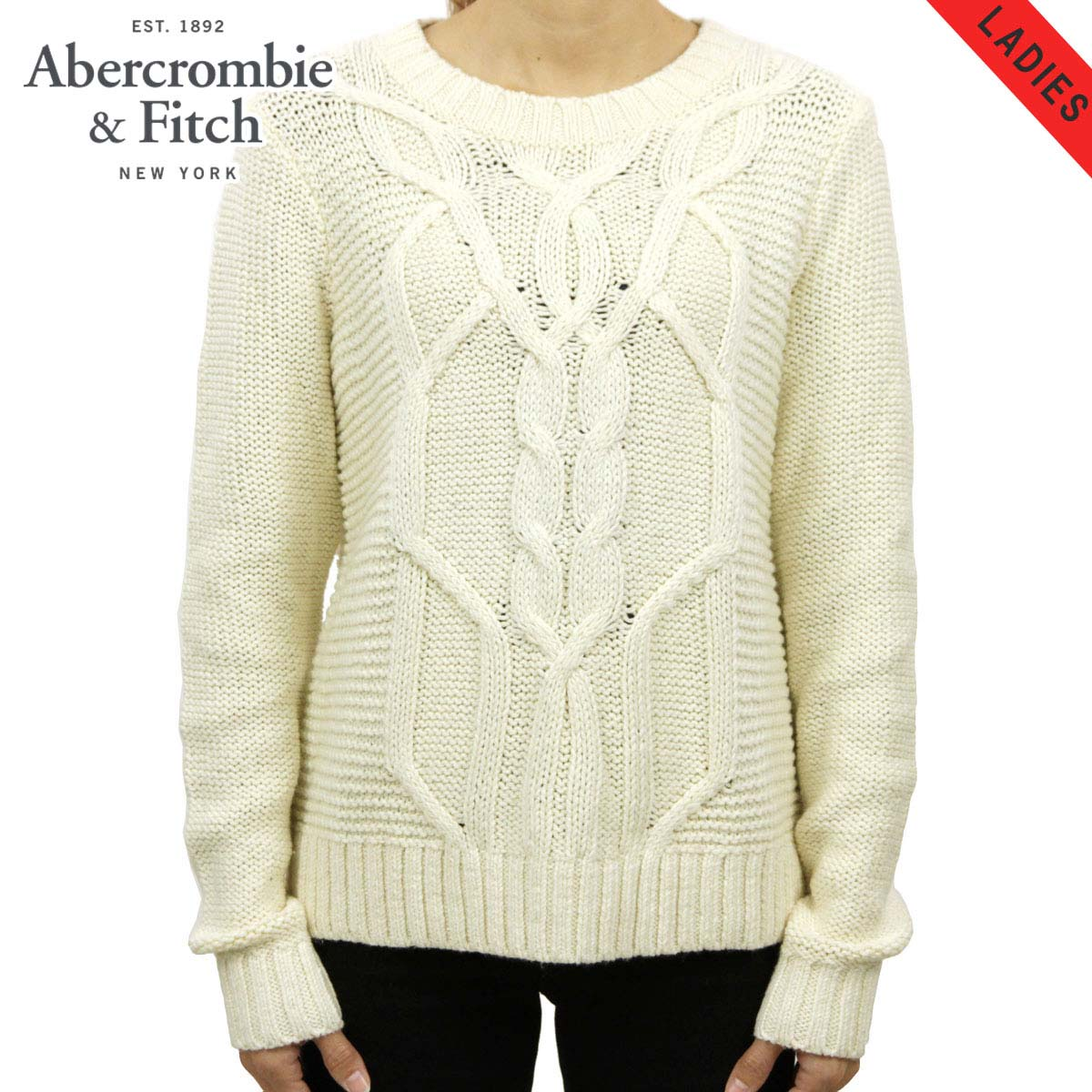 15%OFFセール 【販売期間 12/4 20:00~12/11 1:59】 アバクロ Abercrombie&Fitch 正規品 レディース セーター CABLE KNIT SWEATER 150-490-0800-100 D00S20