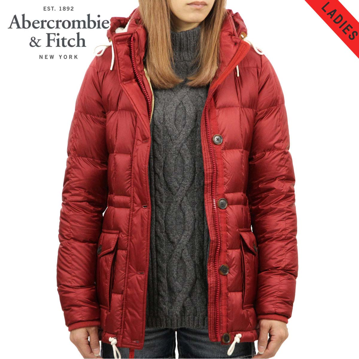 b46b814ea ABBA black outer lady's regular article Abercrombie & Fitch jacket down  jacket DOWN-FILLED PUFFER COAT 144-442-0590-511
