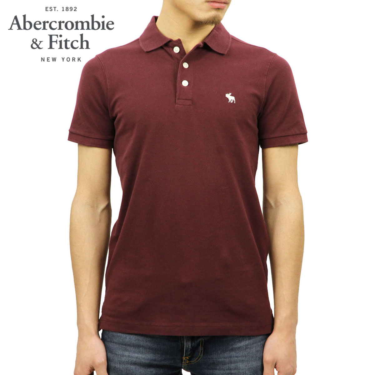 2834d285 ABBA black Abercrombie & Fitch regular article men one point short  sleeves polo shirt STRETCH