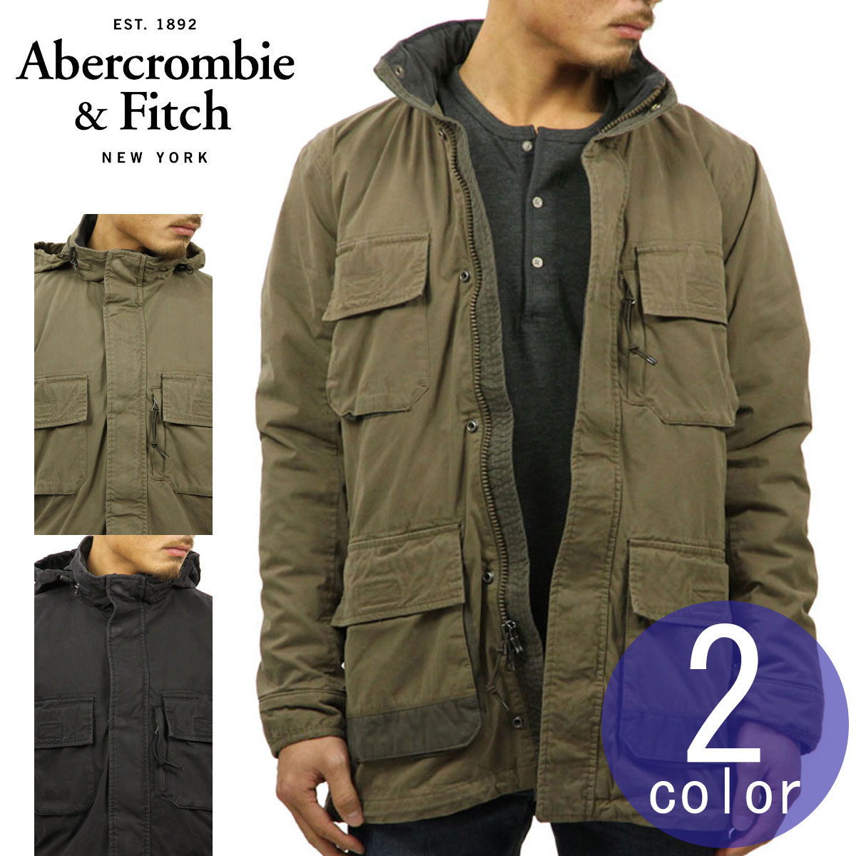 269ffd6a2 Military jacket UTILITY PARKA JACKET with the ABBA black outer men's  regular article Abercrombie & Fitch jacket food