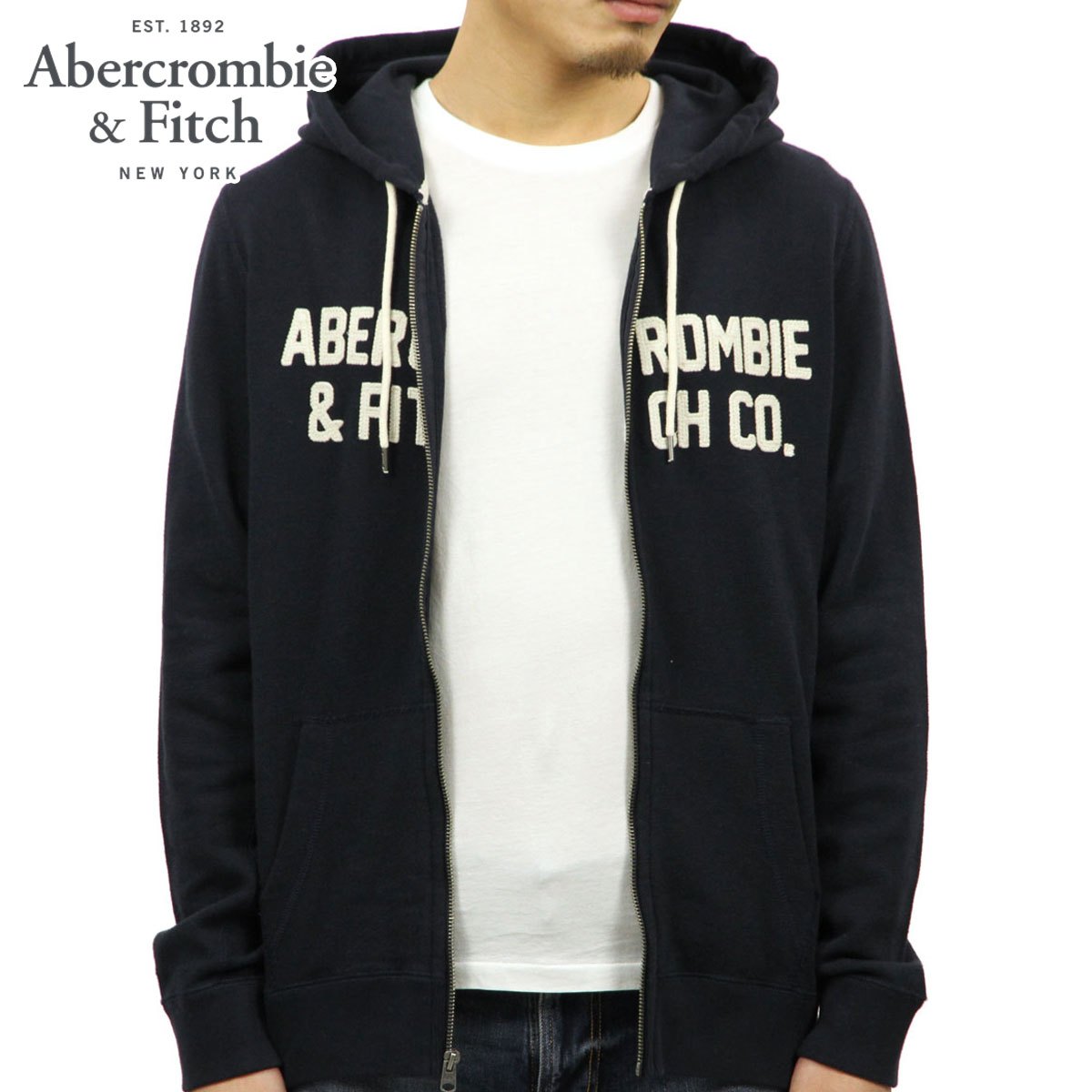 4e3f1344e8a ABBA black Abercrombie   Fitch regular article men zip up parka GRAPHIC  FULL-ZIP HOODIE 122-232-0799-200