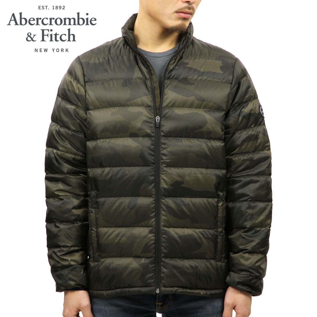 7e57cfe28 ABBA black down jacket men's regular article Abercrombie & Fitch outer  jacket LIGHTWEIGHT DOWN-FILLED PACKABLE PUFFER 132-328-1200-308