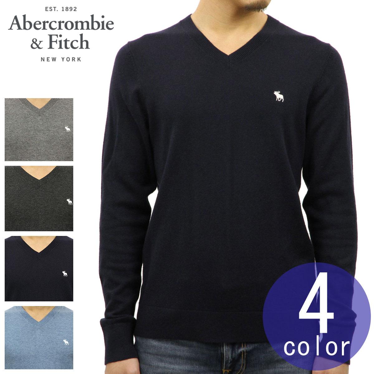 アバクロ Abercrombie&Fitch 正規品 メンズ ウール混 Vネックセーター ワンポイントロゴ刺繍 ICON V-NECK SWEATER