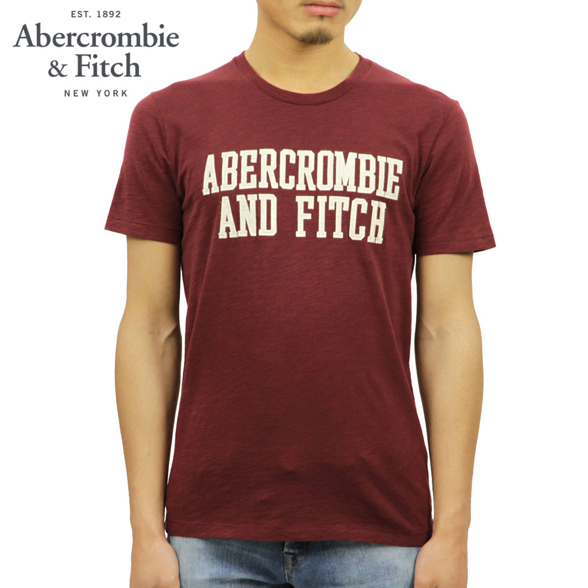 7f0d46fdc ABBA black Abercrombie & Fitch regular article men crew neck short sleeves  T-shirt ...