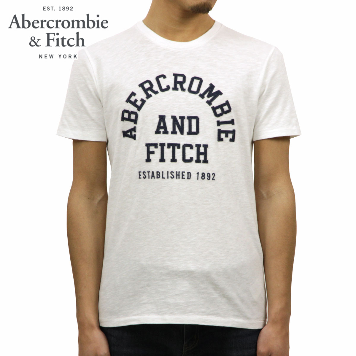 c2a53cf4 ABBA black Abercrombie & Fitch regular article men crew neck logo short  sleeves T- ...