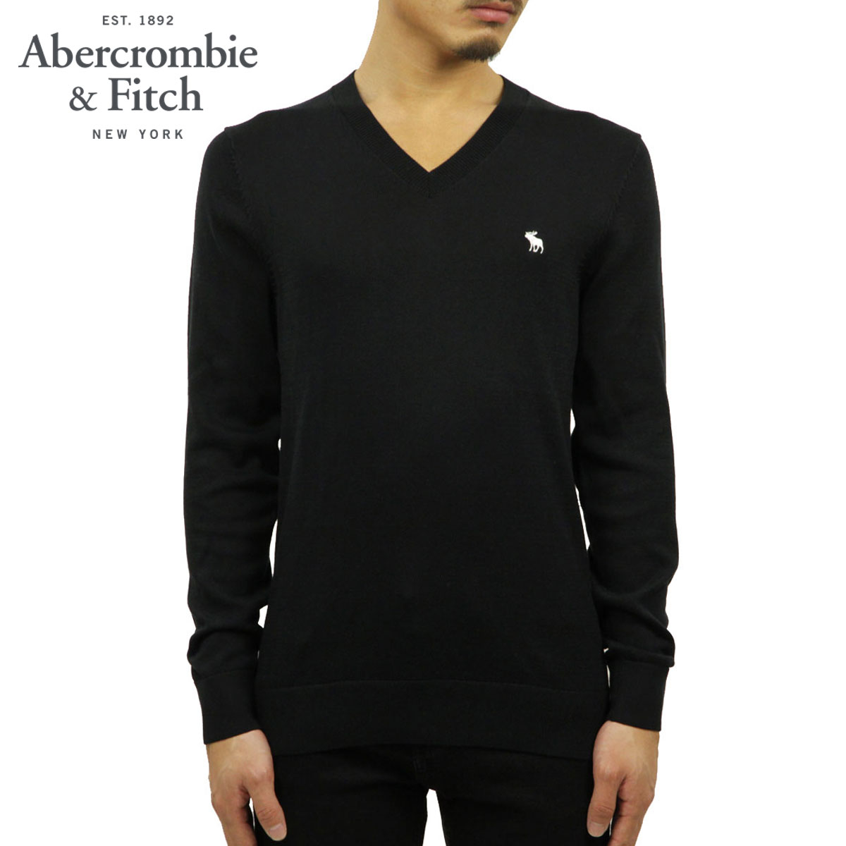 【ポイント10倍 1/1 00:00~1/5 23:59まで】 アバクロ セーター メンズ 正規品 Abercrombie&Fitch Vネックセーター ワンポイントロゴ THE A&F ICON V-NECK SWEATER 120-201-1574-900