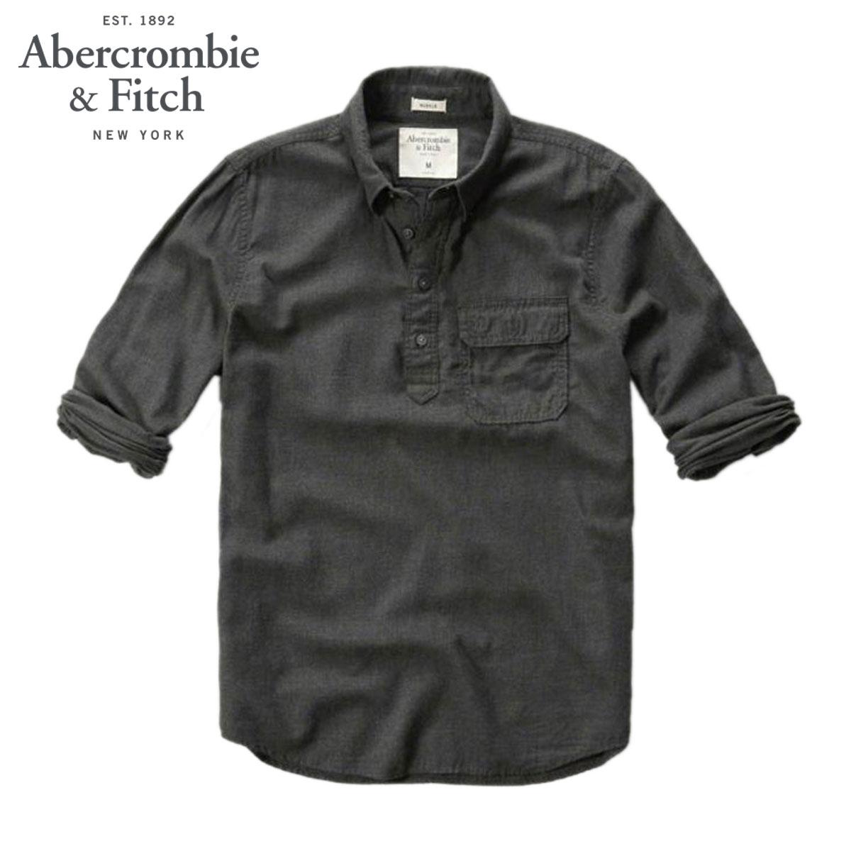 アバクロ Abercrombie&Fitch 正規品 メンズ 長袖シャツ MUSCLE FIT POLLOVER SHIRT 125-168-2051-012 D00S20