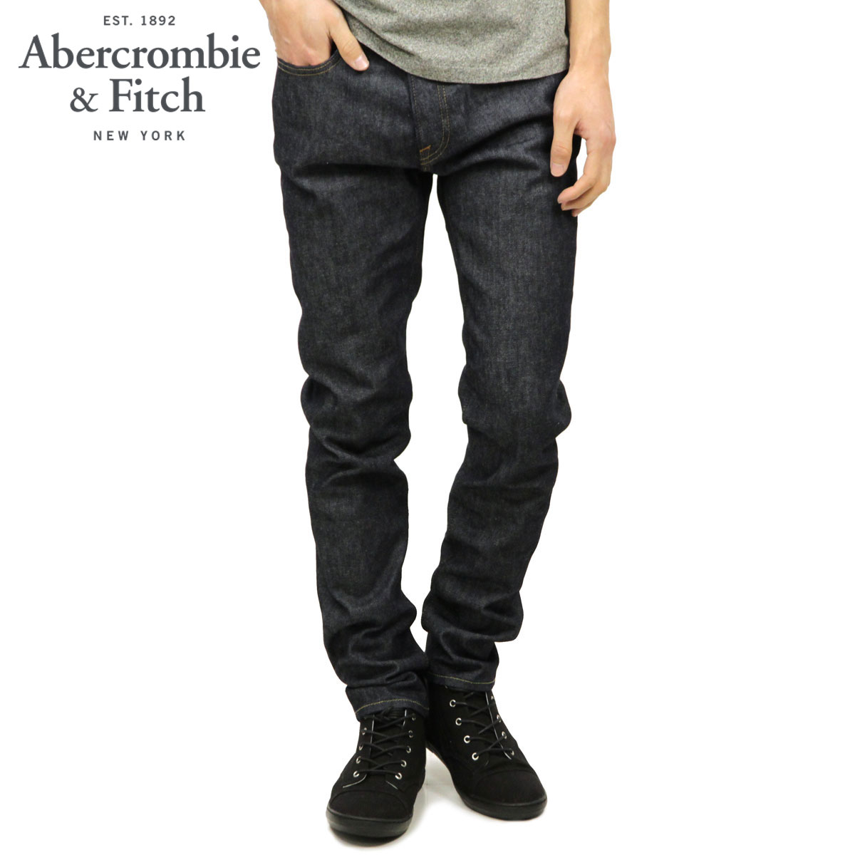 アバクロ Abercrombie&Fitch 正規品 メンズ ジーンズ A&F Taper Zip Fly Winter Jeans 131-318-0855-025 D00S20