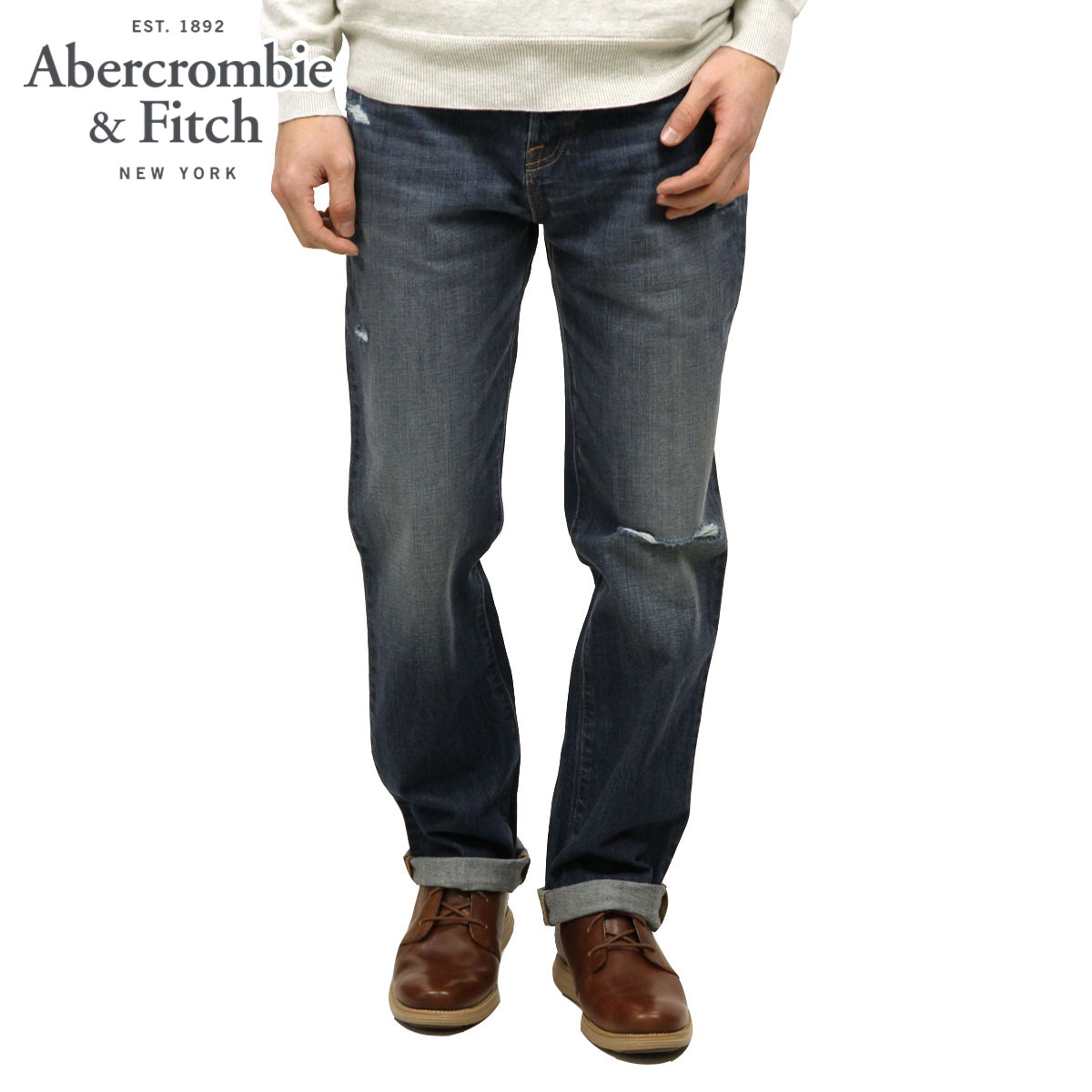 15%OFFセール 【販売期間 12/4 20:00~12/11 1:59】 アバクロ Abercrombie&Fitch 正規品 メンズ ジーンズ A&F Classic Straight Button Fly Jeans 131-318-0358-027 D00S20