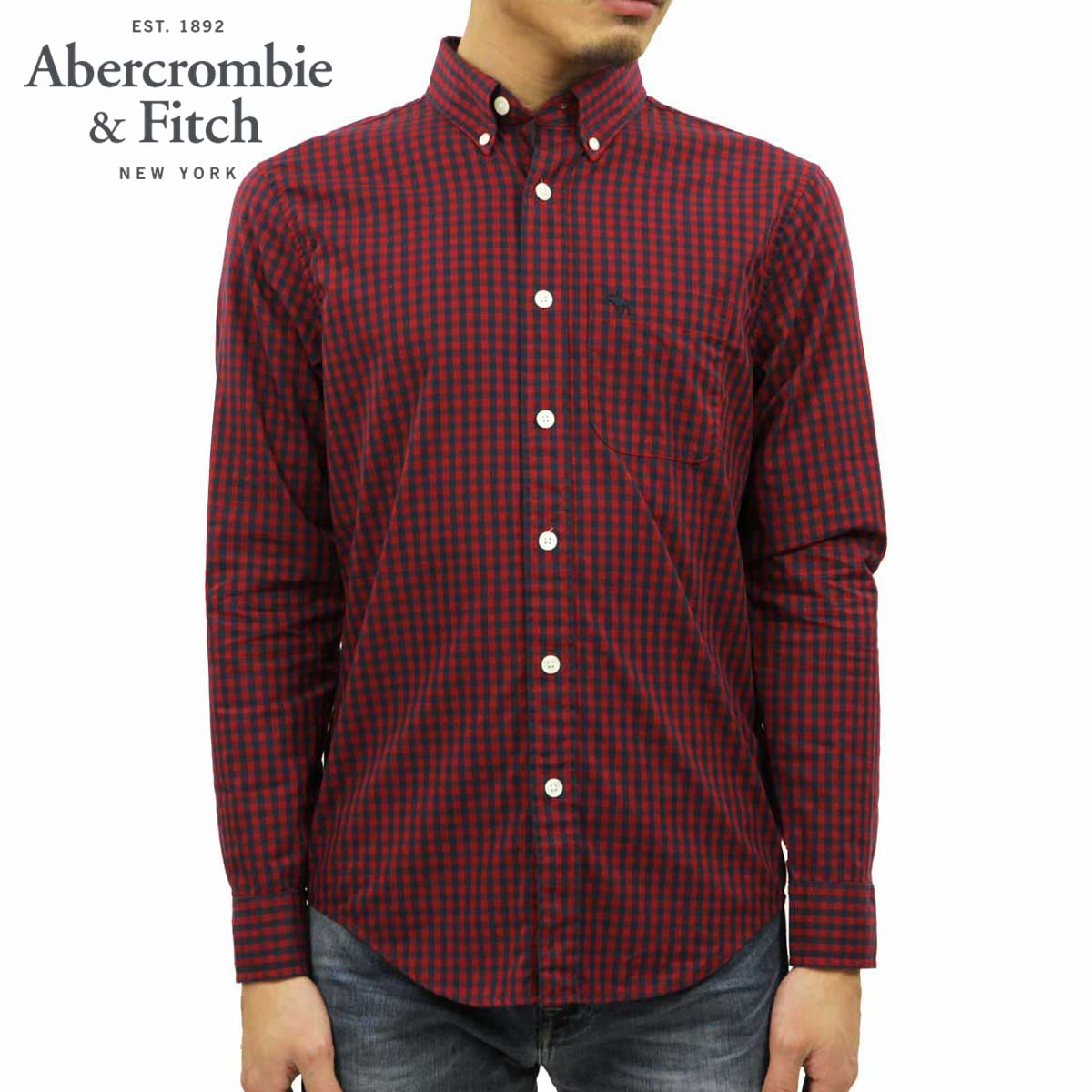 アバクロ Abercrombie&Fitch 正規品 メンズ 長袖シャツ Patterned Cotton Poplin Shirt 125-168-2367-508 D00S20
