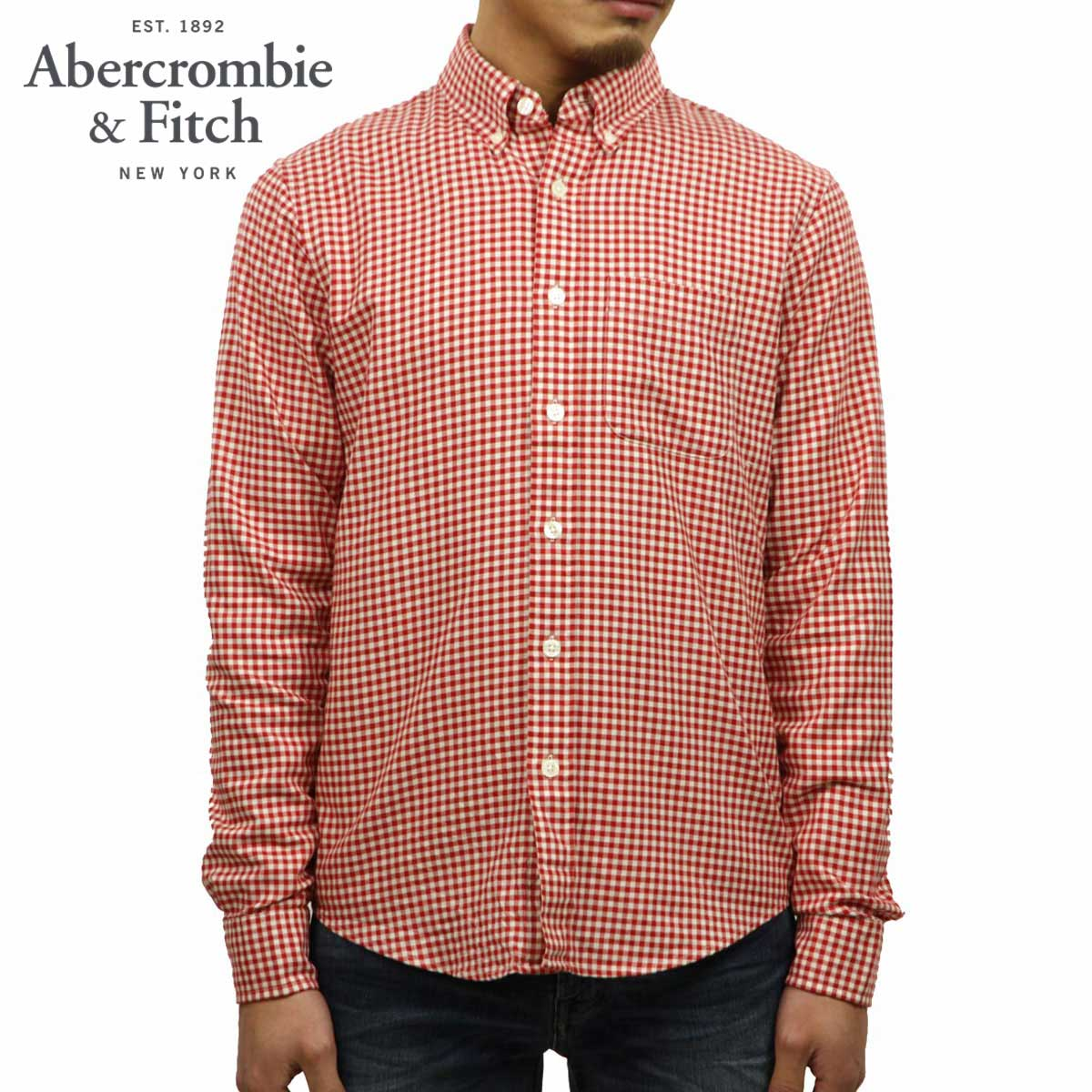 アバクロ Abercrombie&Fitch 正規品 メンズ 長袖シャツ Gingham Herringbone Button-Up Shirt 125-168-2370-508 D00S20
