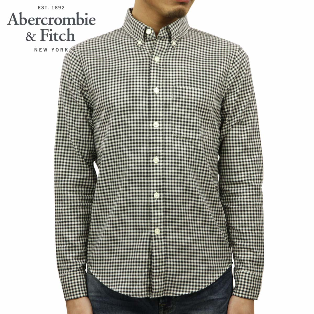 アバクロ Abercrombie&Fitch 正規品 メンズ 長袖シャツ Gingham Herringbone Button-Up Shirt 125-168-2354-138 D00S20