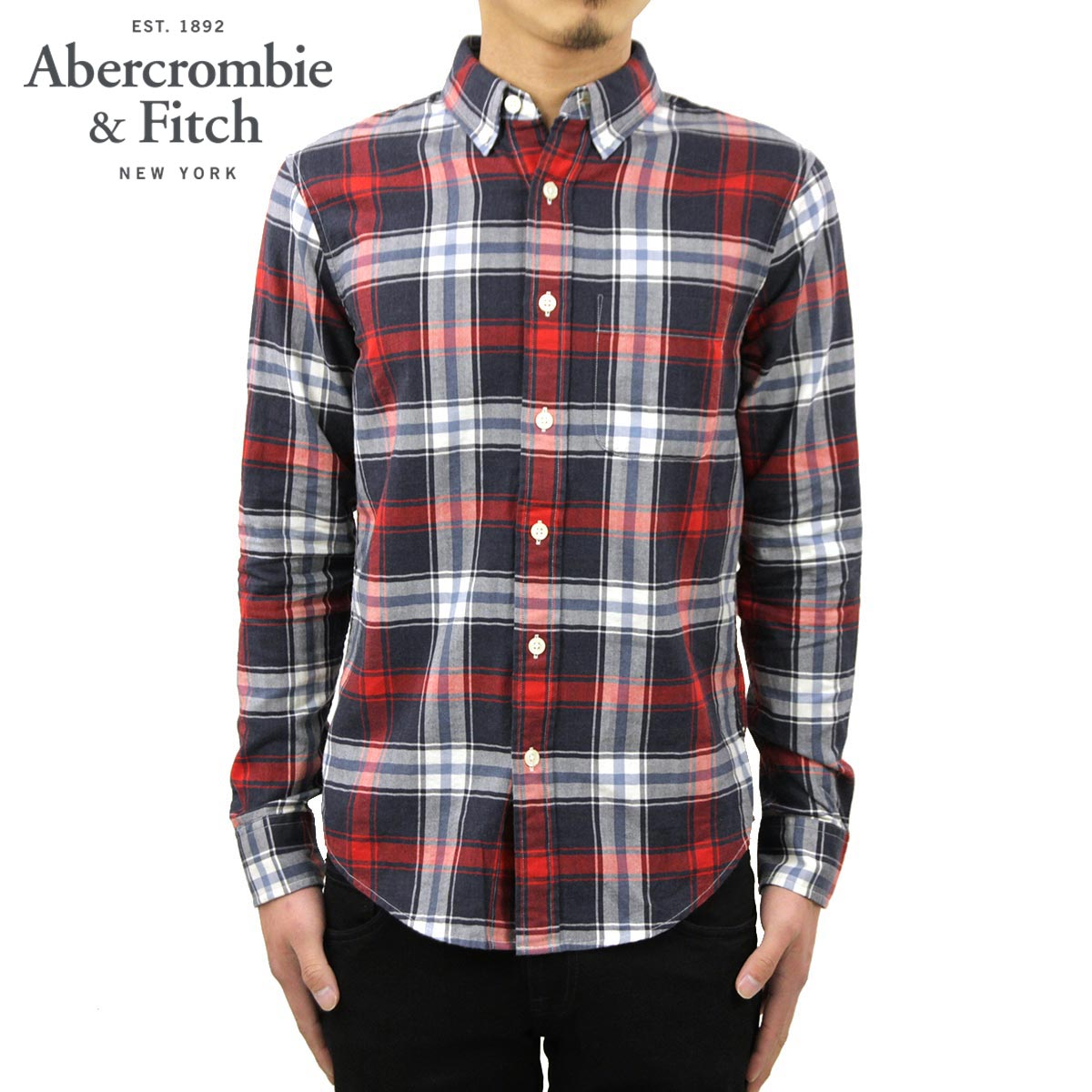 アバクロ Abercrombie&Fitch 正規品 メンズ 長袖シャツ Plaid Herringbone Button-Up Shirt 125-168-2371-208 D00S20