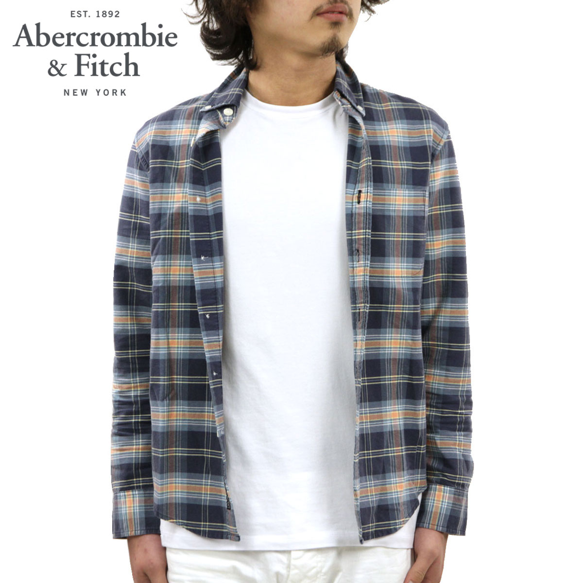 アバクロ Abercrombie&Fitch 正規品 メンズ 長袖シャツ Bleached Plaid Oxford Shirt 125-168-2359-208 D00S20