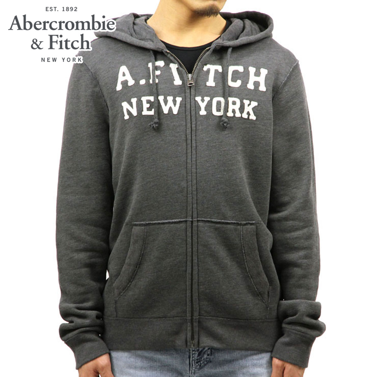 15%OFFセール 【販売期間 12/4 20:00~12/11 1:59】 アバクロ Abercrombie&Fitch 正規品 メンズ ジップアップパーカー Logo Graphic Full-Zip Hoodie 175-122-0031-015 D00S20