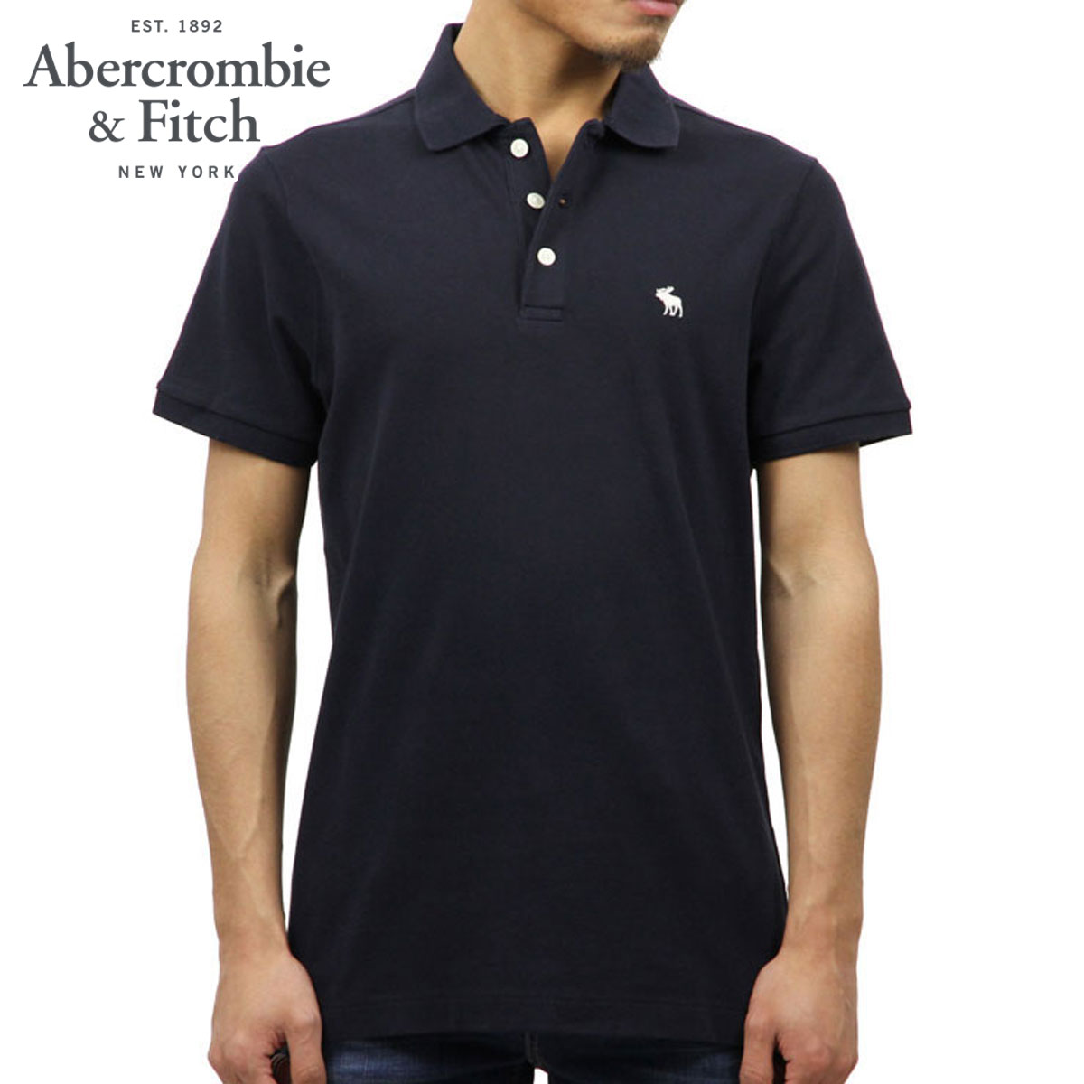 1226142f ABBA black Abercrombie & Fitch regular article men short sleeves polo  shirt STRETCH ICON POLO ...