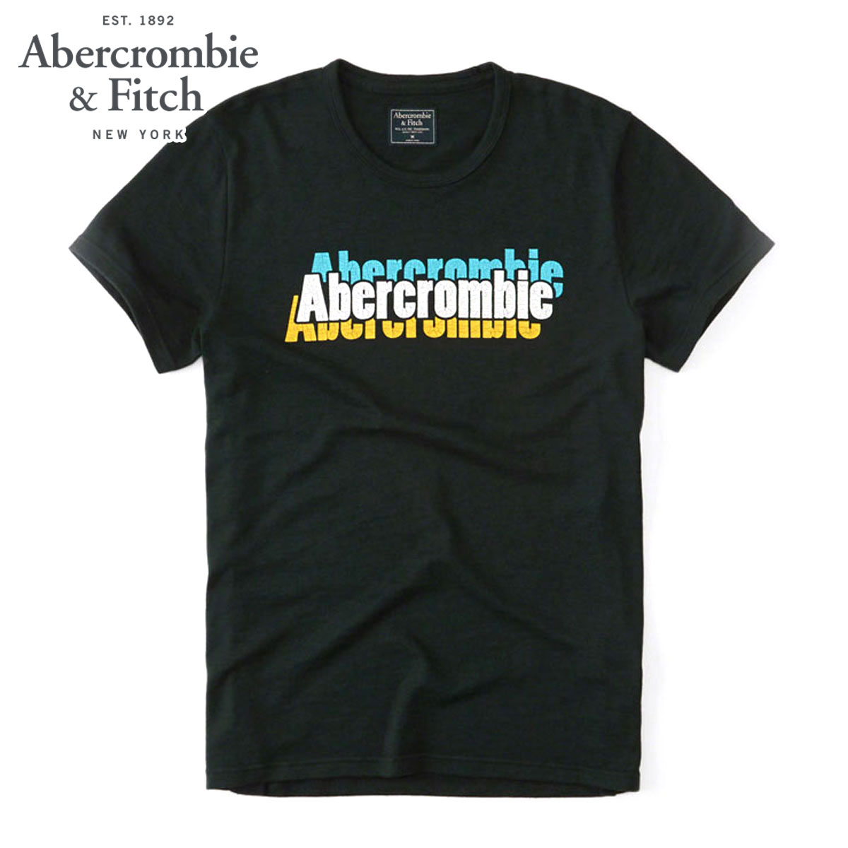 693139f3 ABBA black Abercrombie & Fitch regular article men short sleeves T-shirt  PRINT LOGO TEE 123-238-2097-300 D00S20