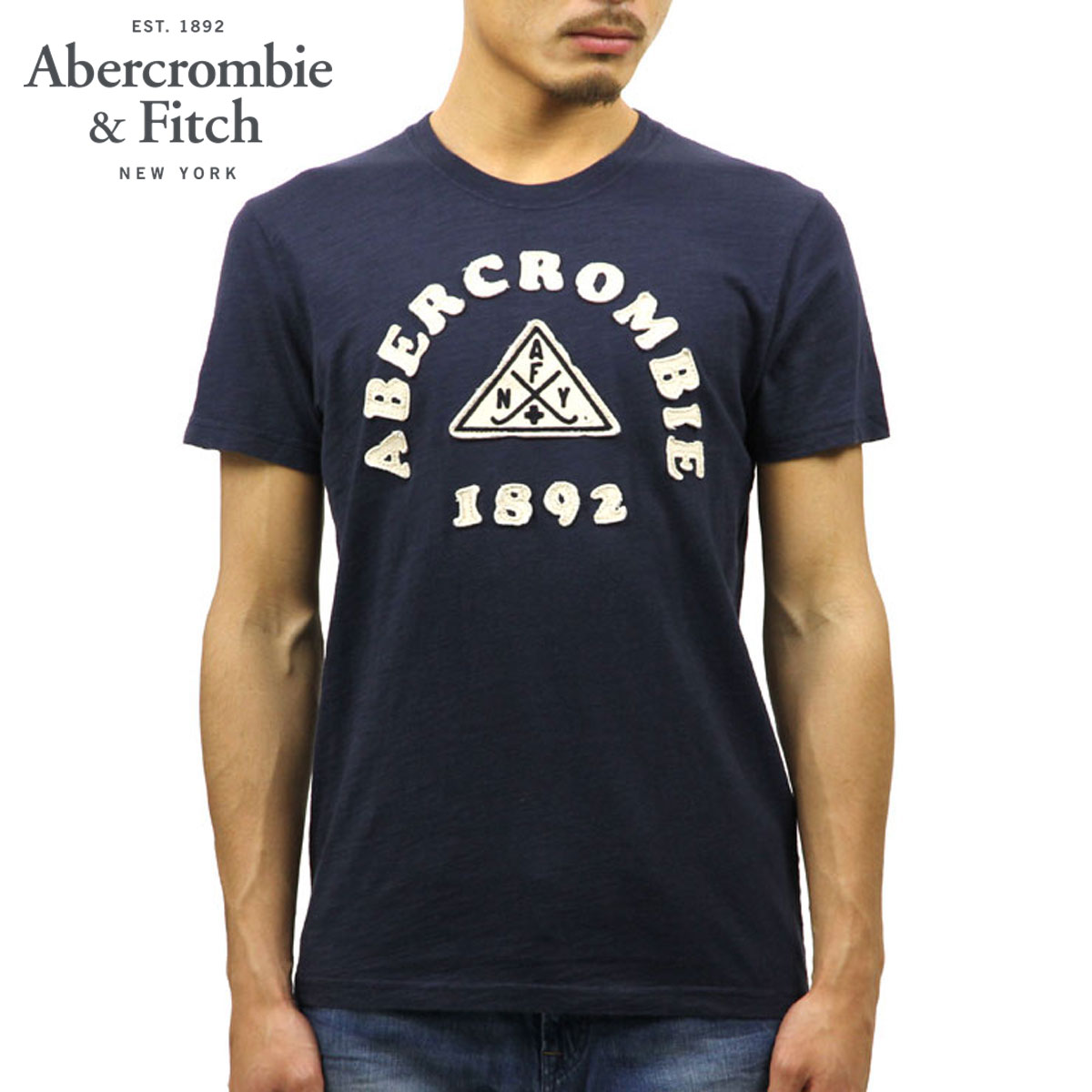 ecb8a47c ABBA black Abercrombie & Fitch regular article men short sleeves T-shirt  LOGO GRAPHIC ...
