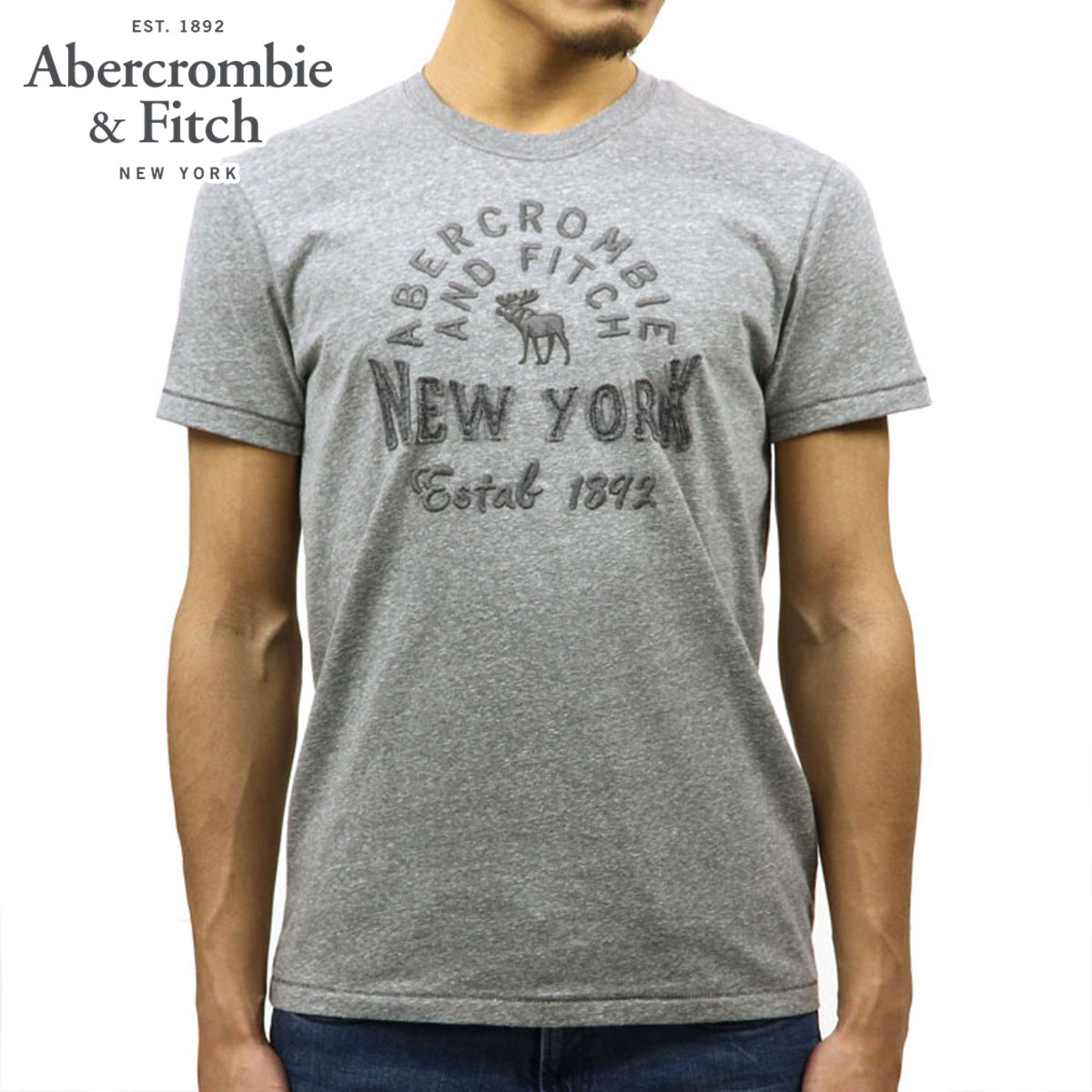 17af8c90 ABBA black Abercrombie & Fitch regular article men short sleeves T-shirt  LOGO CREW ...