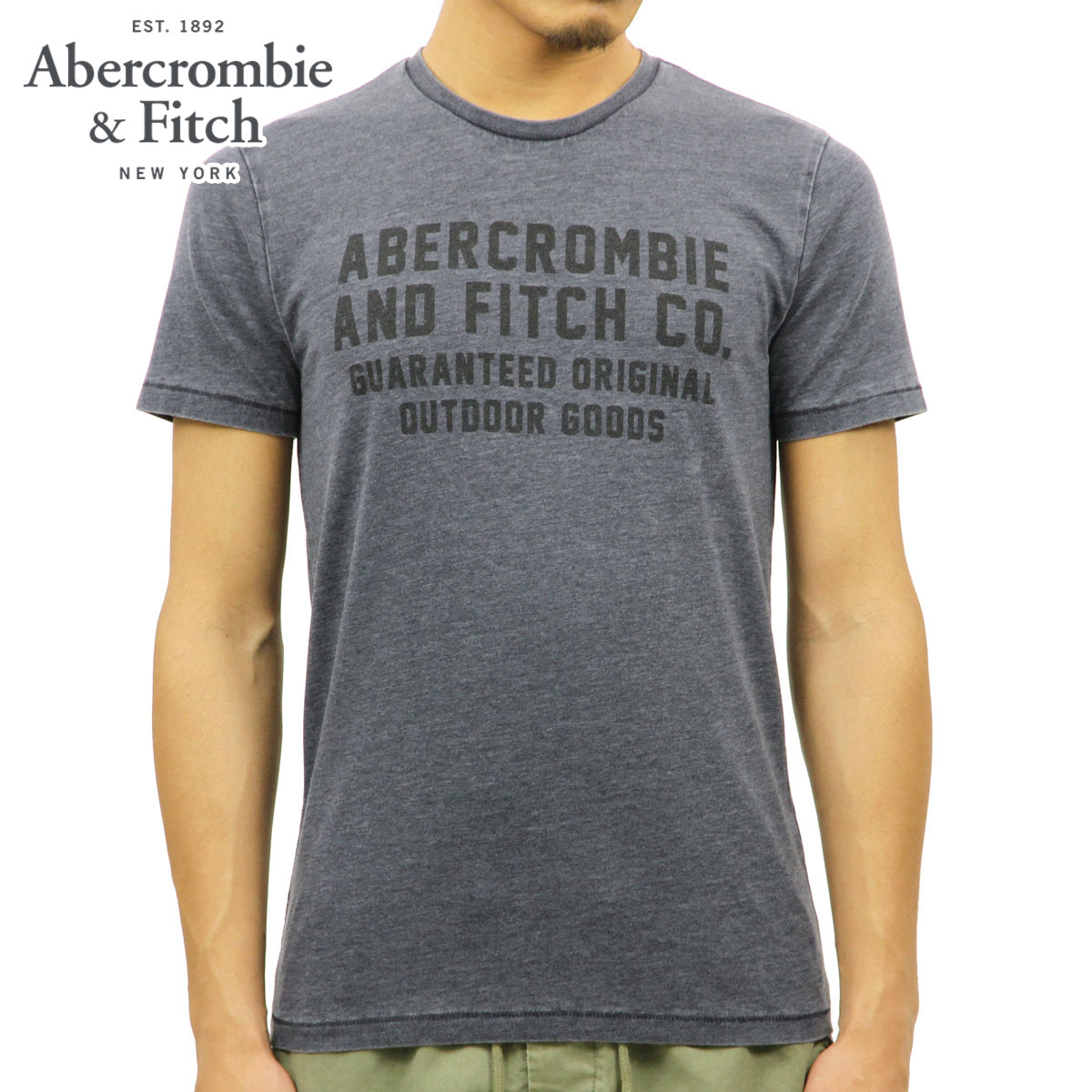 b64835dd ABBA black Abercrombie & Fitch regular article men short sleeves T-shirt  PRINTED LOGO ...
