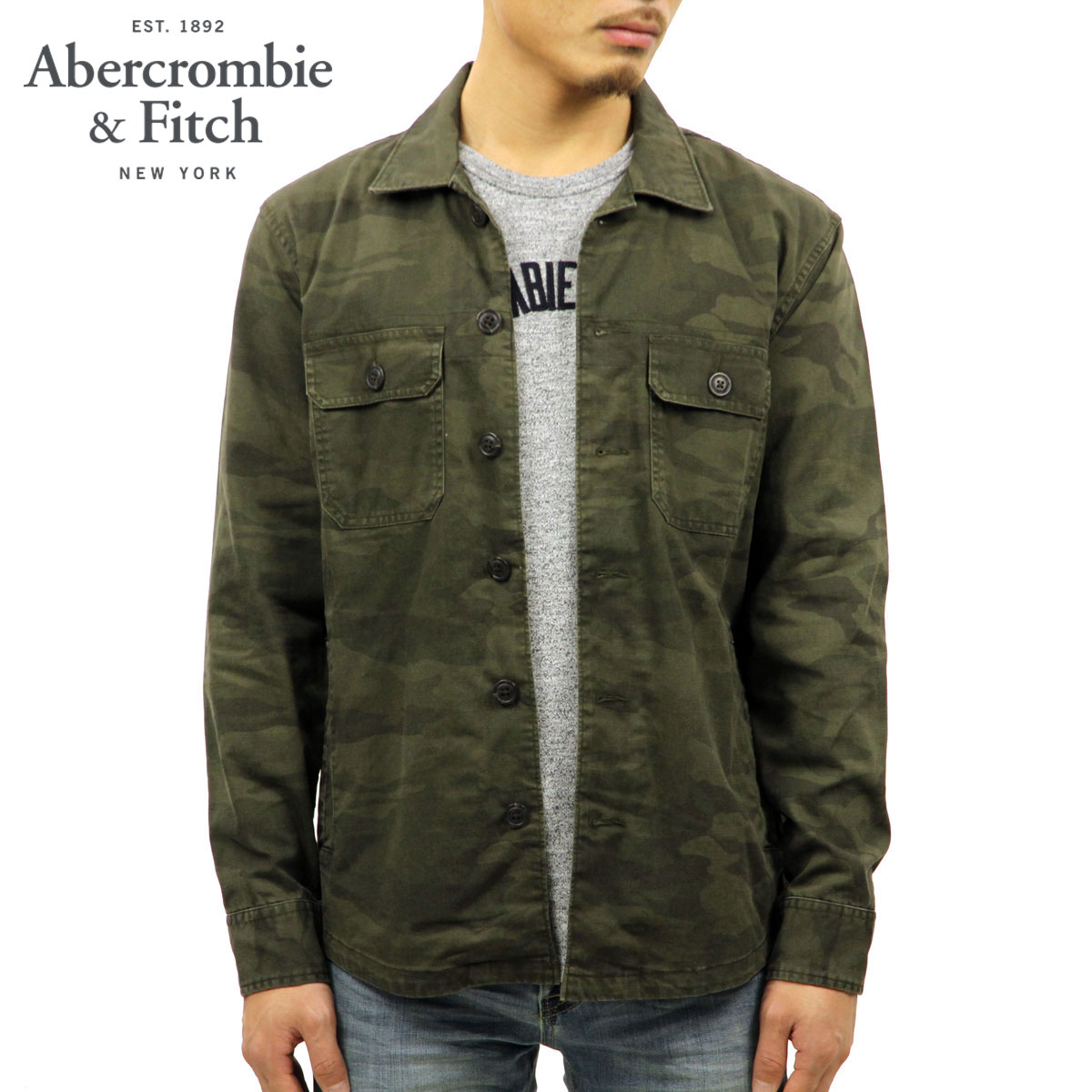 e27a96b95c7dd ABBA black Abercrombie & Fitch regular article men outer shirt jacket  MILITARY SHIRT JACKET 125 ...