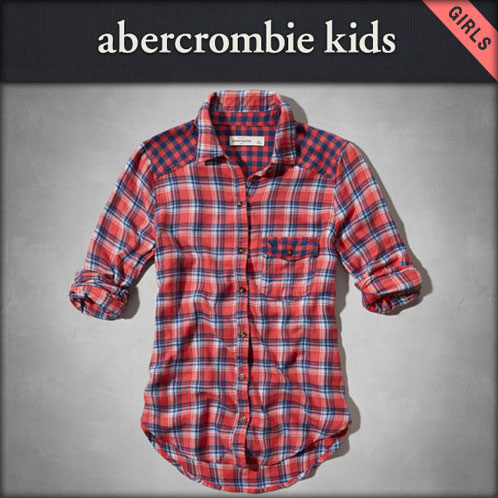 abakurokizzu AbercrombieKids正規的物品童裝女孩子長袖子襯衫plaid shirt 240-780-0554-050