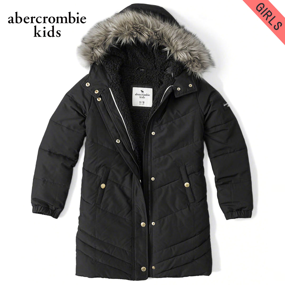 20%OFFセール 【販売期間 1/9 20:00~1/16 01:59】 アバクロキッズ AbercrombieKids 正規品 子供服 ガールズ コート sherpa-lined quilted parka 244-856-0221-091