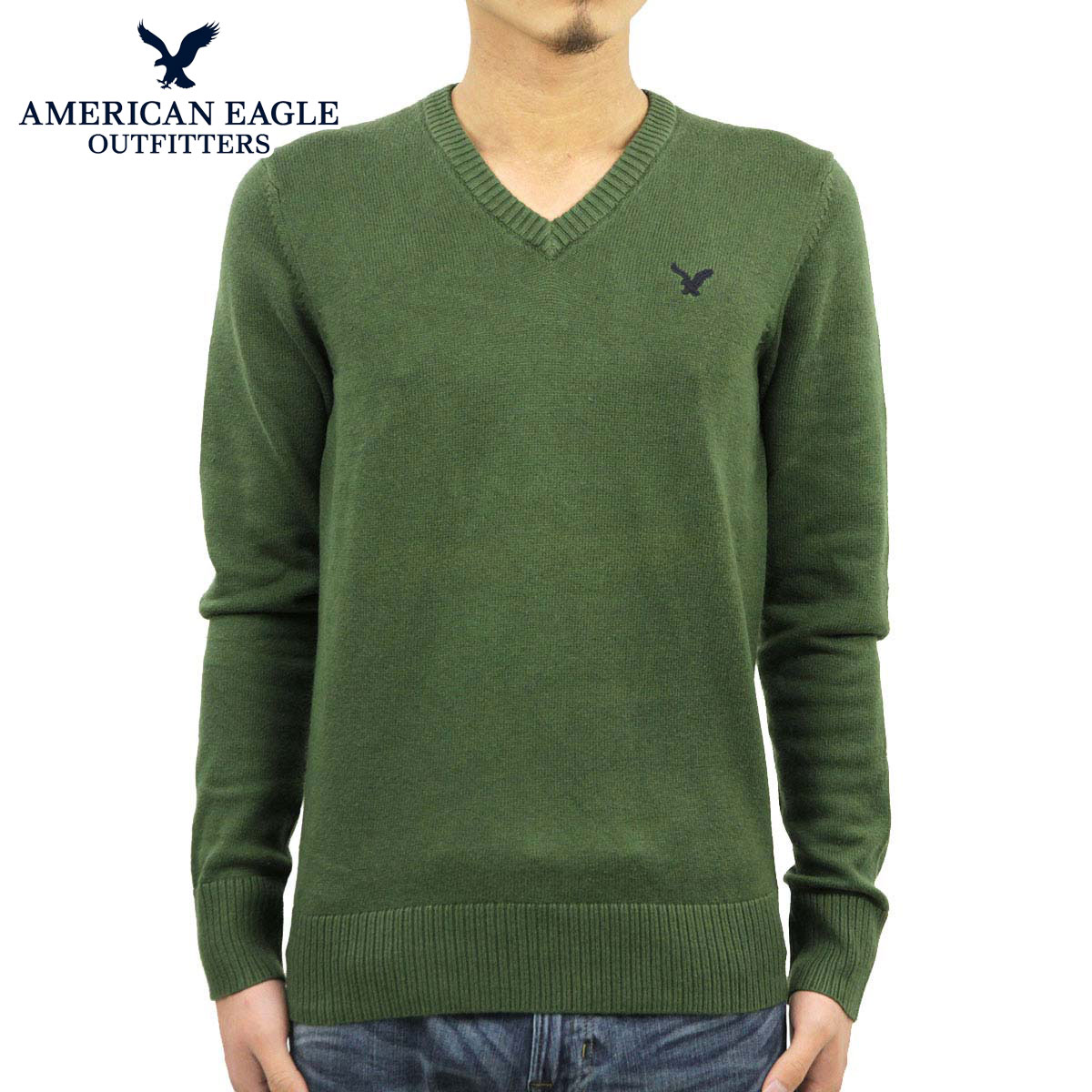 d21e562a86 30%OFF sale American eagle AMERICAN EAGLE regular article men V neck  sweater AE green 1144-9384 D20S30