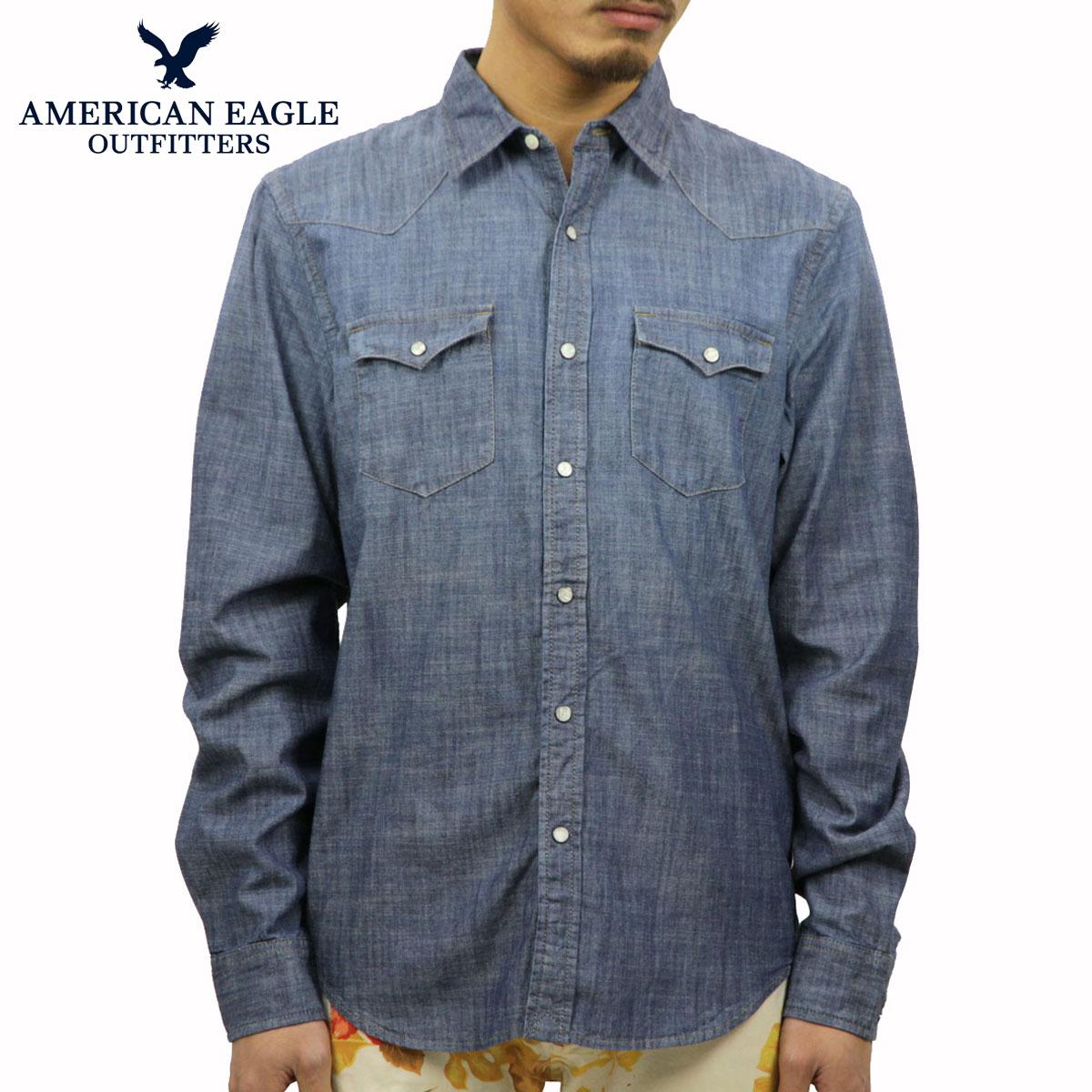 美国鹰牌美国鹰 AE 男士色织青年布衬衫 AE 纺西衬衫 1152年 8581 海军