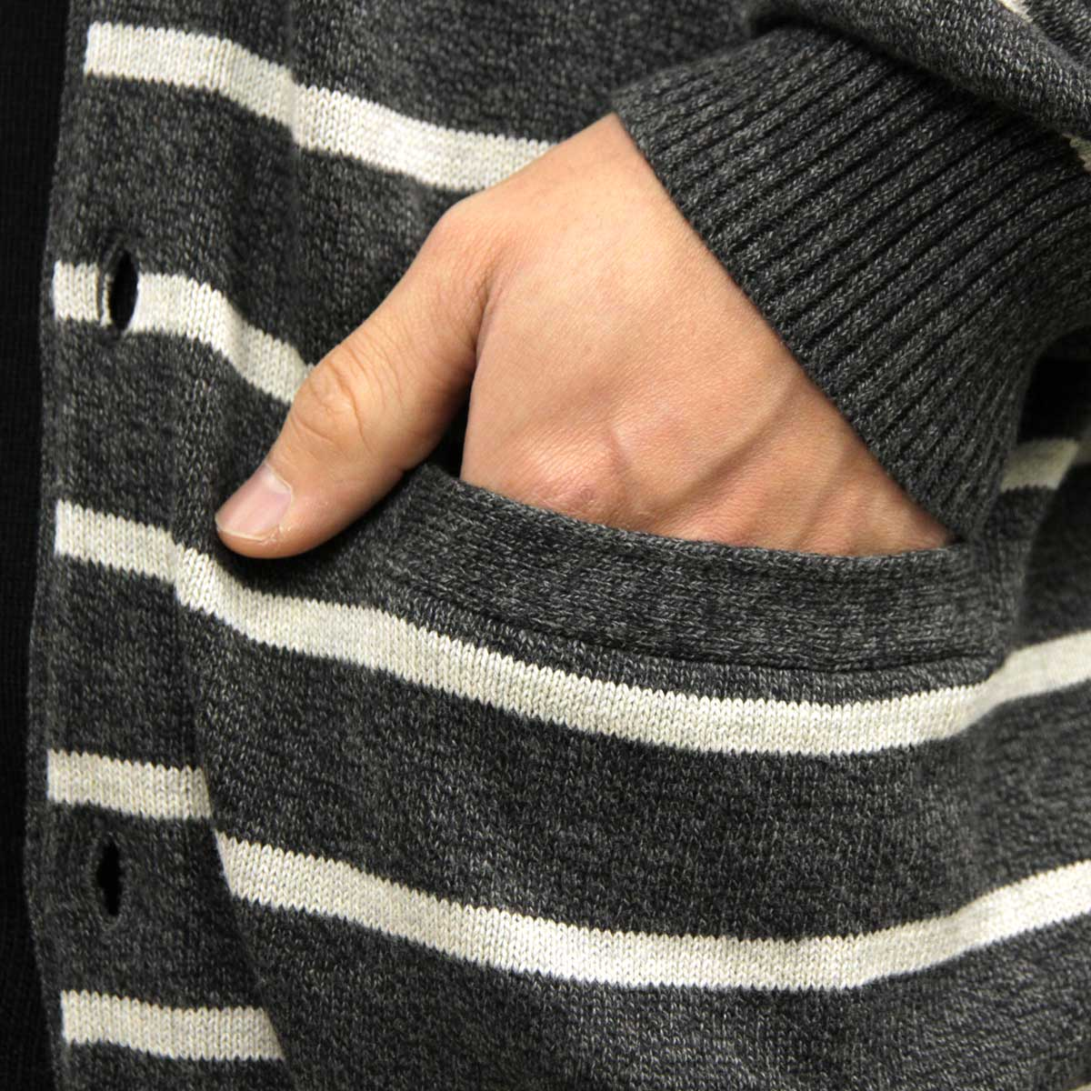 Aeo Striped Waffled Cardigan Grey American Eagle Outers