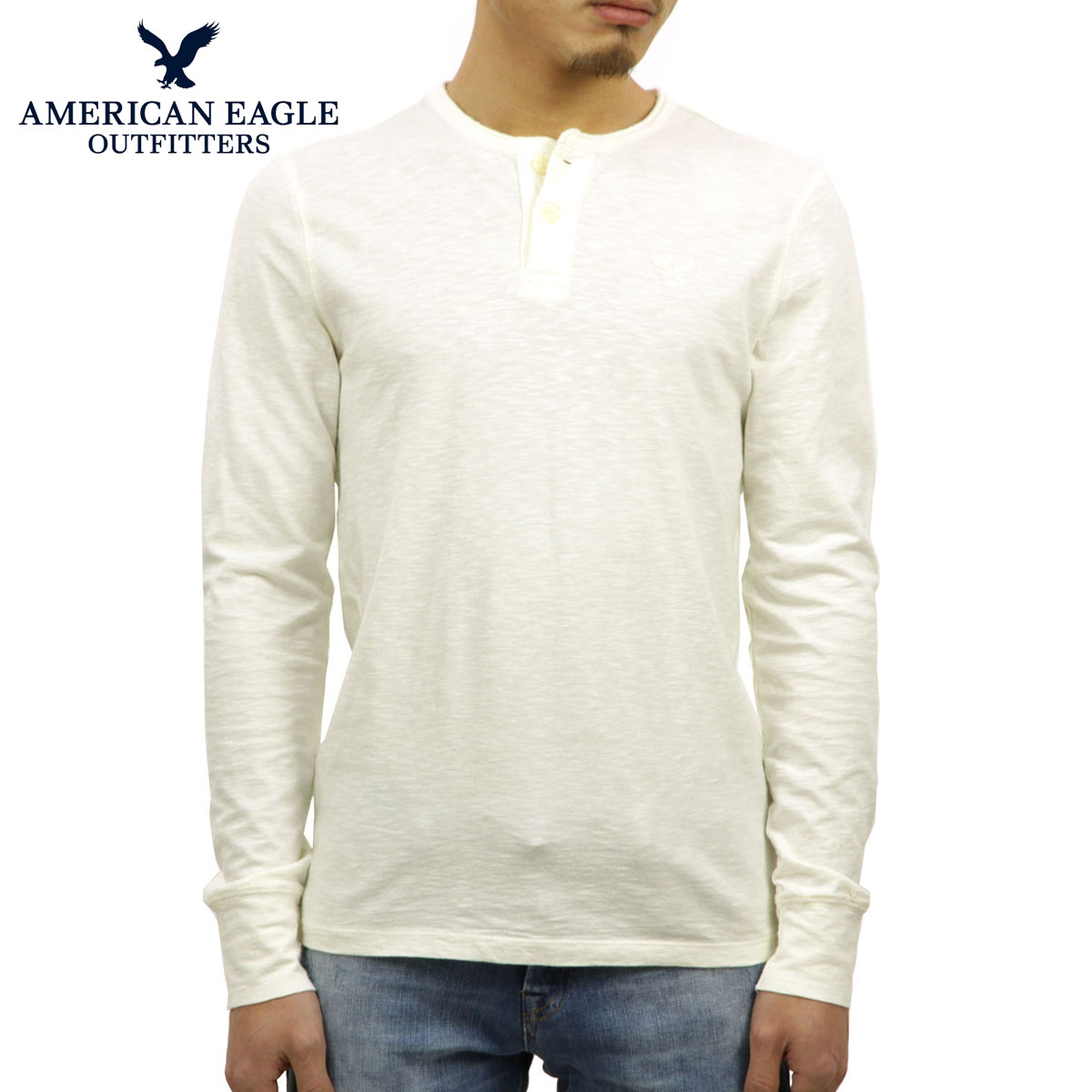 b458ce4a Rakuten Ichiba shop MIXON: American eagle AMERICAN EAGLE regular article  men long sleeves Henry T-shirt AE Legend Long Sleeve Henley 4171-7605 CREAM  D20S30 ...