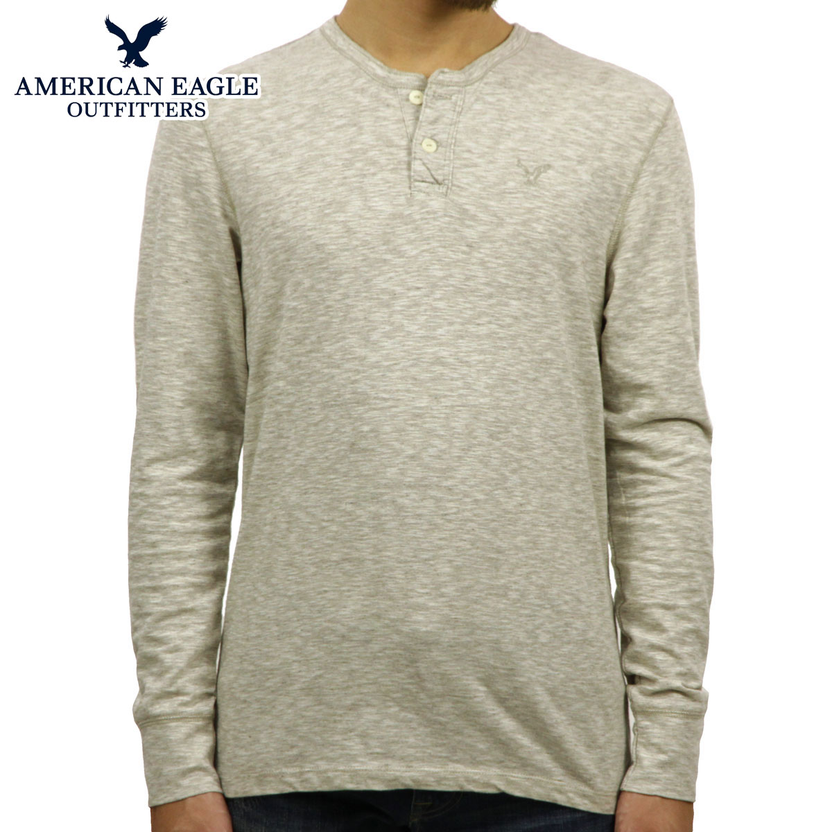 109cedda American Eagle AMERICAN EAGLE AE men's long sleeve Henry T shirt AE Legend Long  Sleeve Henley 4171-7605 LIGHT GREY 10P22Jul14