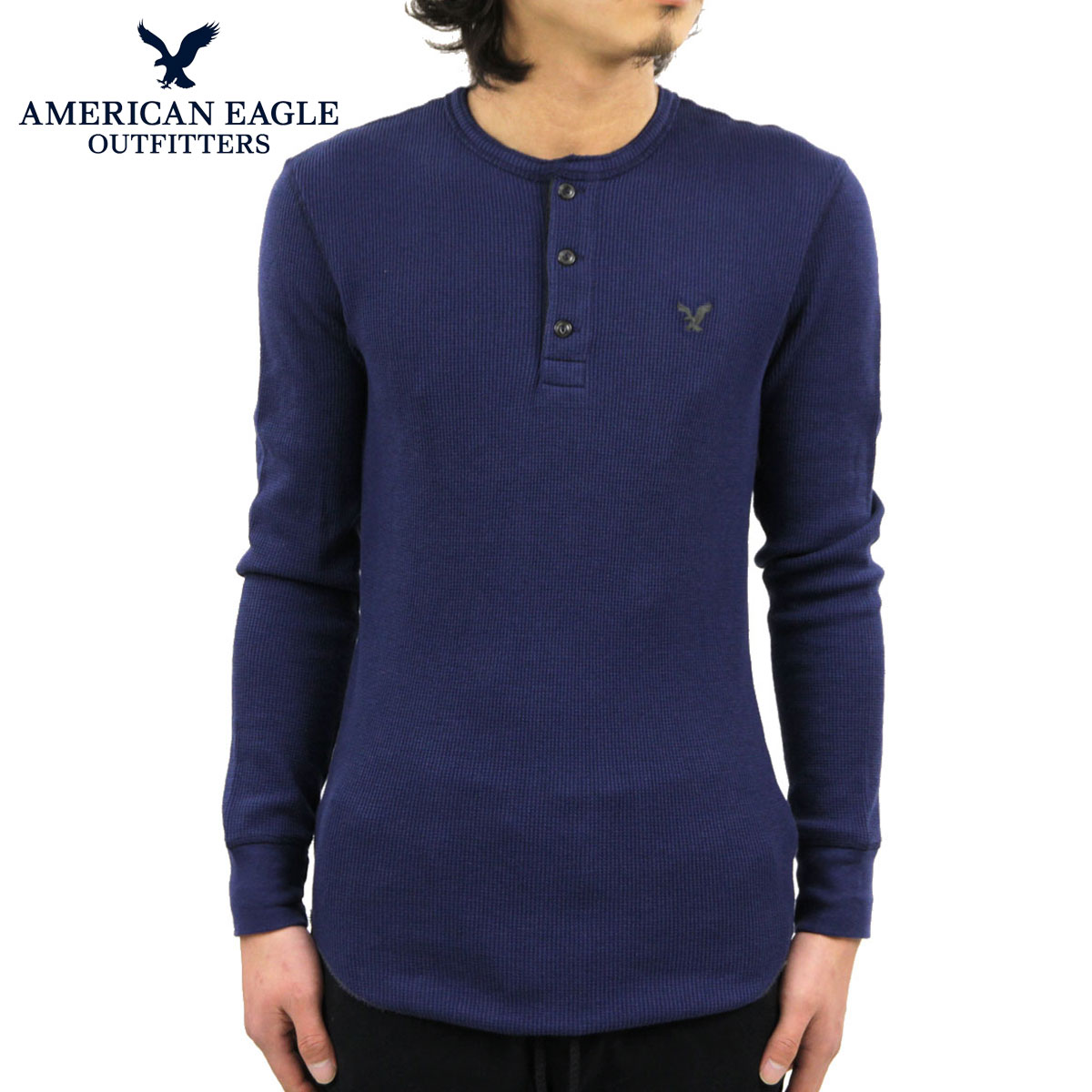 884b2b87 Eagle AMERICAN EAGLE AE men's Henry neck long sleeve T shirt AEO Thermal  Henley 1519-6122