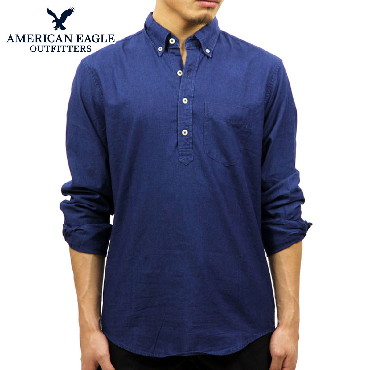 387deff39c American eagle AMERICAN EAGLE regular article men long sleeves button-down  shirt AEO INDIGO POPOVER ...