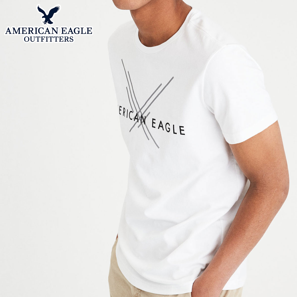 495a68142 American eagle AMERICAN EAGLE regular article men crew neck short sleeves T-shirt  AE ACTIVE ...
